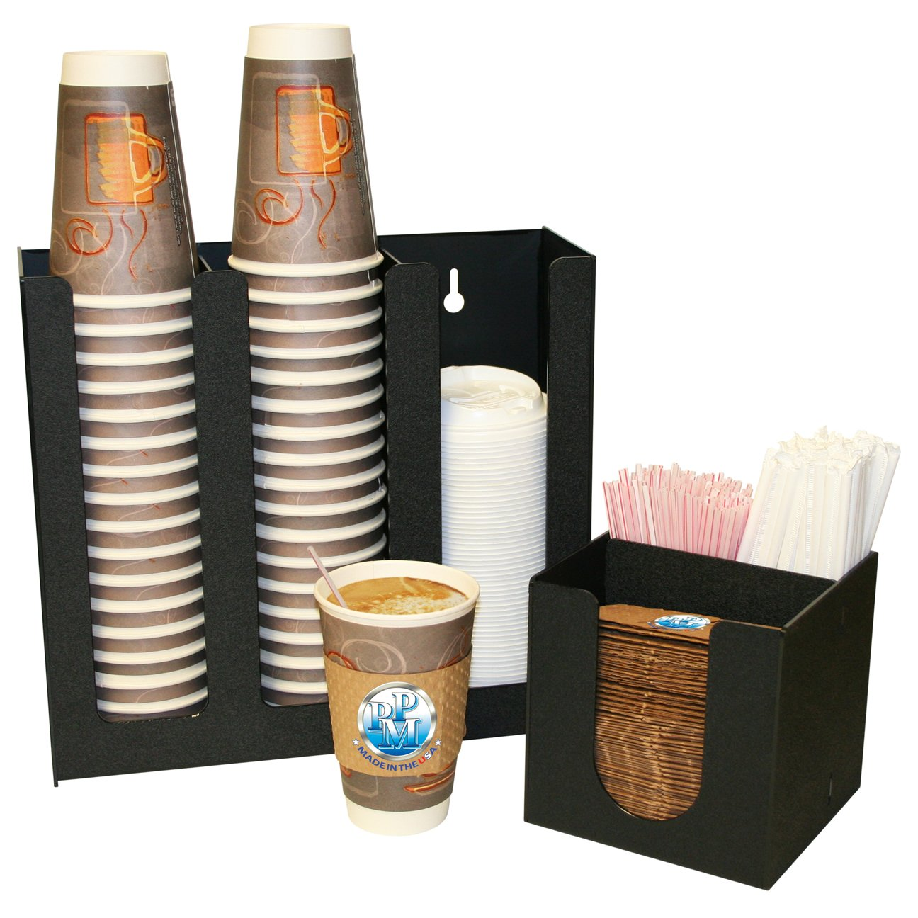 2 Piece Combo, a 3 Column Holder for Coffee Cups, Lids, And Holder for Java Jackets and Stirrers. Perfect for Coffee Reception Areas. Proudly Made by PPM in the USA!