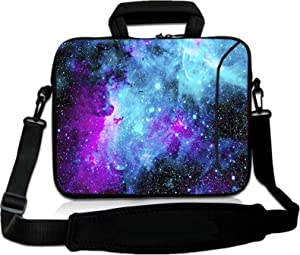 RICHEN 14 15 15.4 15.6 inch Laptop Shoulder Bag Messenger Bag Case Notebook Handle Sleeve Neoprene Soft Carring Tablet Travel Case with Accessories Pocket (14-15.6 inch, Galaxy)