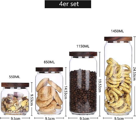 550 ml, 850 ml, 1150 ml, 1450 ml Tarro de cristal de borosilicato con tapa de madera para sal y az/úcar KKC