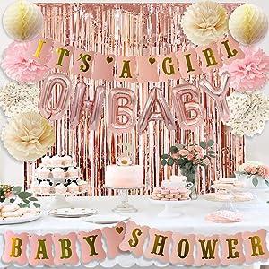 Rose Gold Baby Shower Decorations for Girl Pink Gold It's A Girl Baby Shower Banner Rose Gold OH Baby Foil Letter Balloons Rose Gold Foil Fringe Curtains Tissue Pom Poms Honeycomb Balls by HappyField