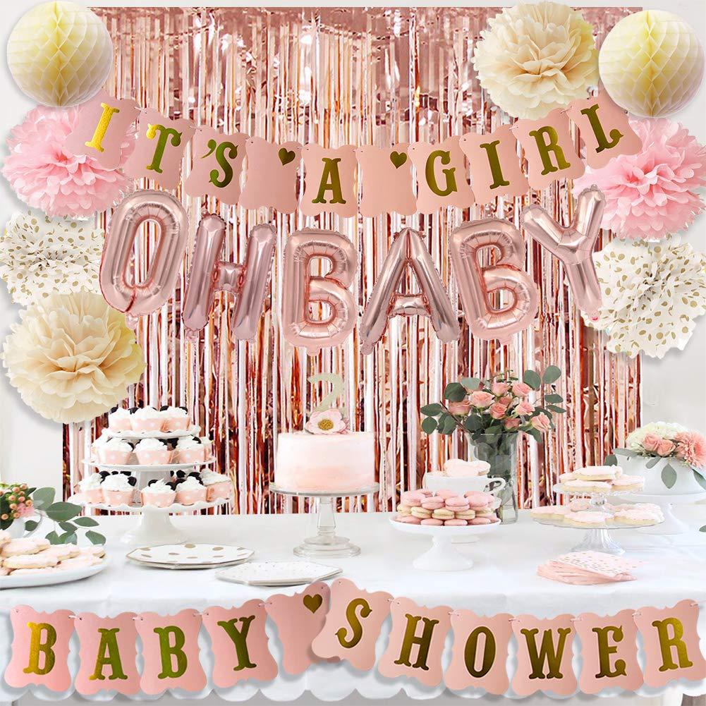 Rose Gold Baby Shower Decorations for Girl Pink Gold It's A Girl Baby Shower Banner Rose Gold OH Baby Foil Letter Balloons Rose Gold Foil Fringe Curtains Tissue Pom Poms Honeycomb Balls by HappyField