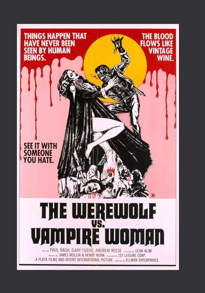 The Werewolf vs vampire woman horror Movie poster print