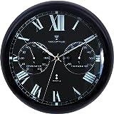 ottostyle.jp 電波掛け時計 掛時計 【ブラック/黒】 温度計/湿度計付き アラビア数字 アルミフレーム 見やすいシンプルな文字盤 連続秒針 サイレントムーブ 電波時計