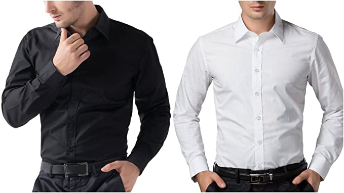 3b9ea54f0a0 BS Fashion Full Sleeve Slim Fit Casual Wear Black White Cotton ...