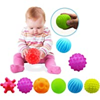 Sensory Balls For Baby Massage Stress Relief, Textured Multi Baby Balls Gift Sets,Water Bath Toys, 6 Spikey Sensory…