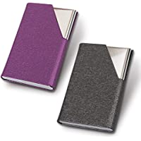homEdge Business Card Holder, Slim Professional 2 Packs PU Leather+Stainless Steel Business Card Case for Traveling and Business-Gray and Purple