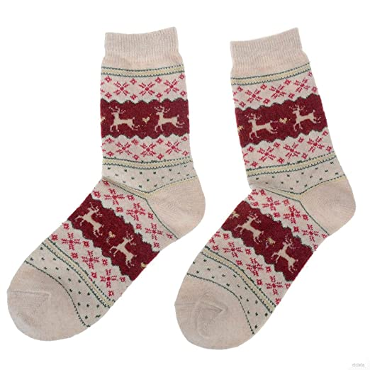 Womens Winter Xmas Cute Santa Deer Snowflake Design Warm Wool Sock ...