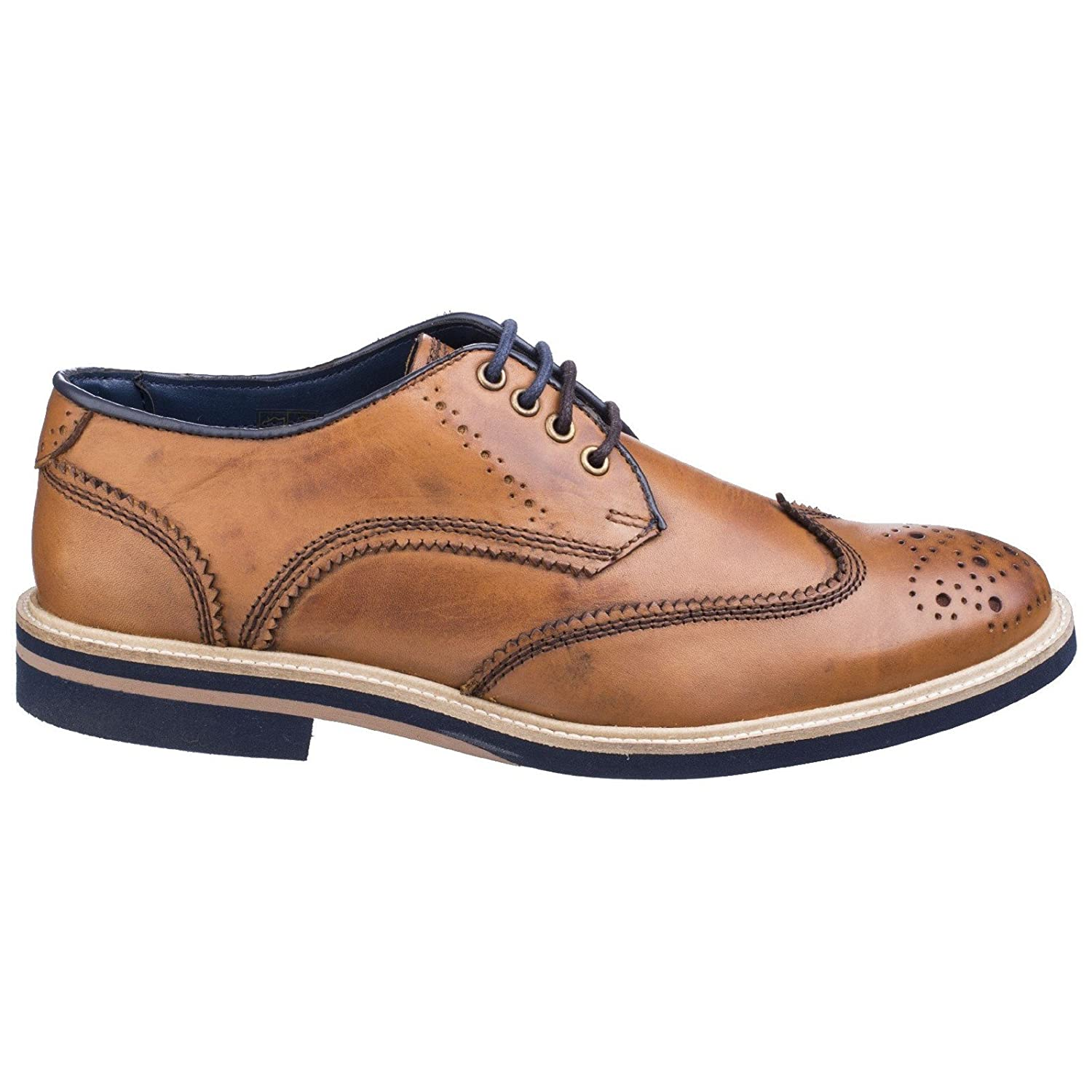 Lambretta Mens Henry Leather Brogue Lace-up- TAN (21190) (UK 10):  Amazon.co.uk: Shoes & Bags