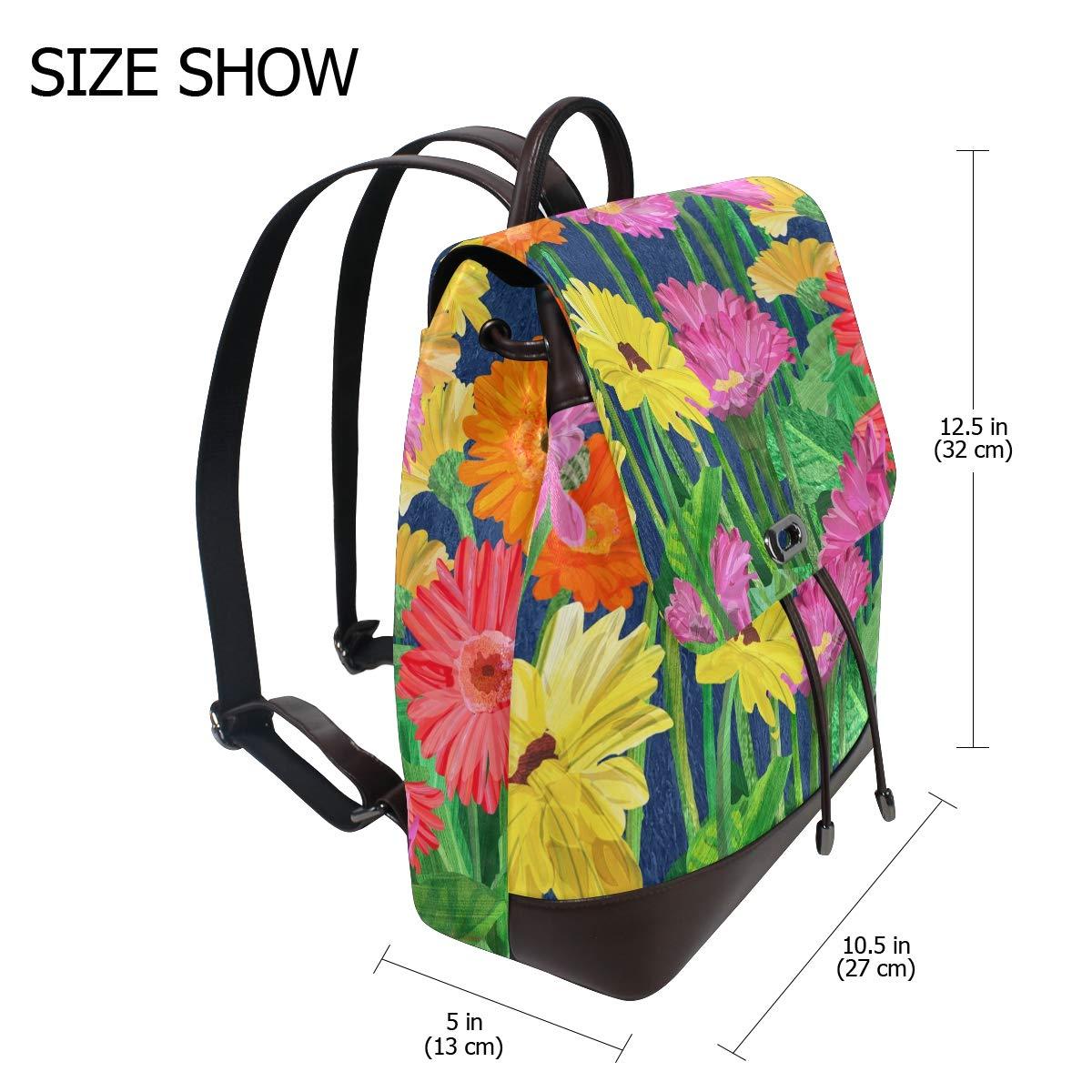 KEAKIA Women PU Leather Gerber Daisy Backpack Purse Travel School Shoulder Bag Casual Daypack