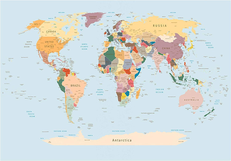 Papier peint intiss/é Carte du Monde 300x210 cm XXL Trompe l oeil decomonkey D/éco Mural Tableaux Muraux Photo Continente