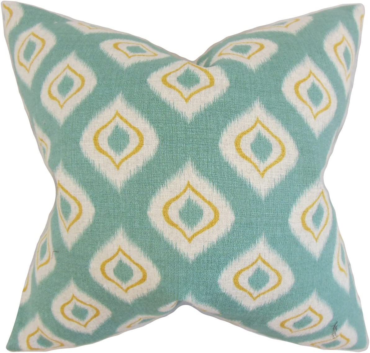 The Pillow Collection Dai Ikat Bedding Sham Aqua Queen//20 x 30