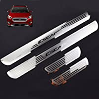 For 350Z 4D M Car Pedal Covers Door Sill Protectors Entry Guard Scuff Plate Trims Anti-Scratch Reflective Carbon Fiber Stickers Auto Accessories Exterior Styling 4Pcs Red