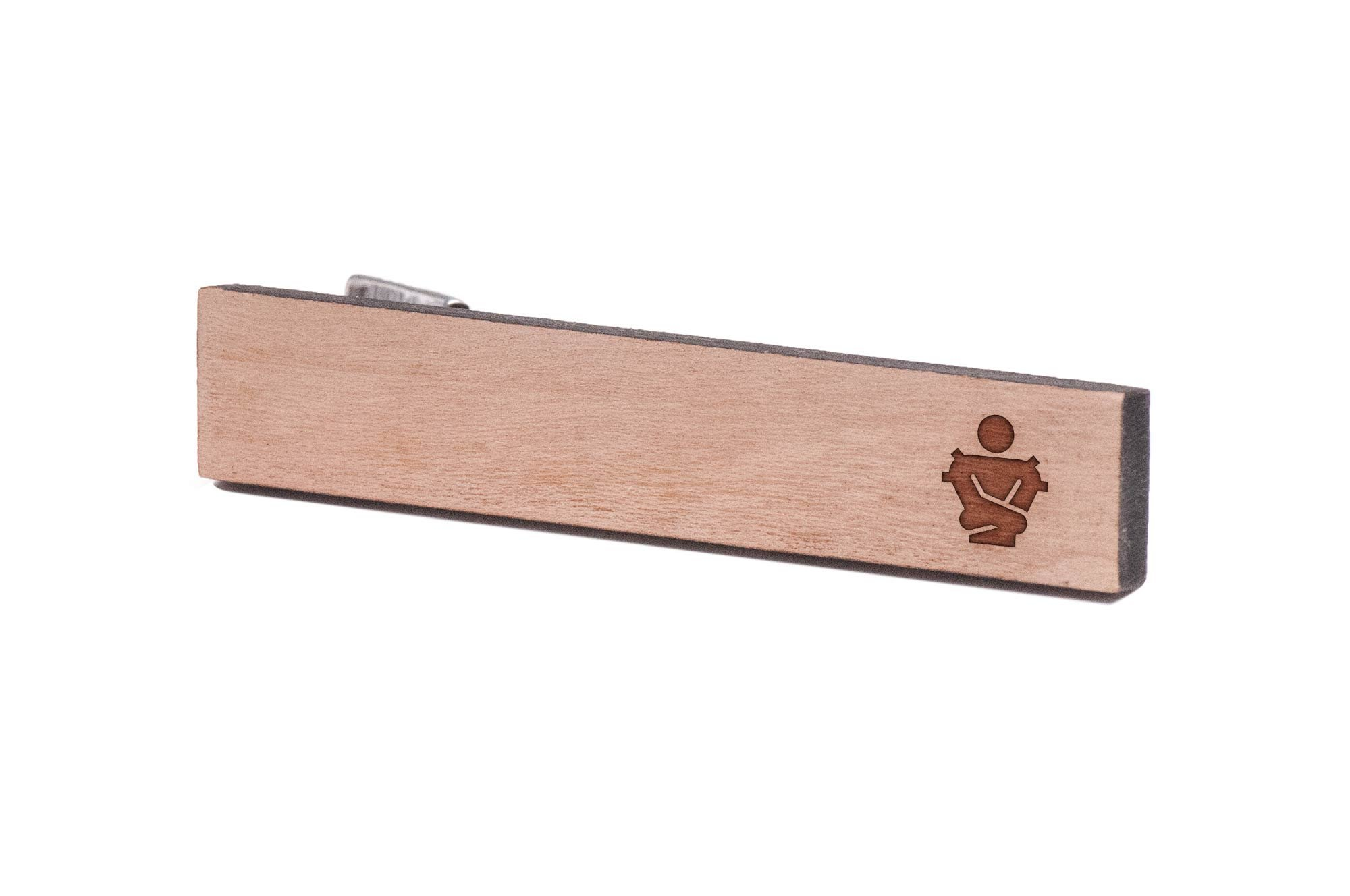 WOODEN ACCESSORIES COMPANY Wooden Tie Clips With Laser Engraved Straightjacket Design - Cherry Wood Tie Bar Engraved In The USA