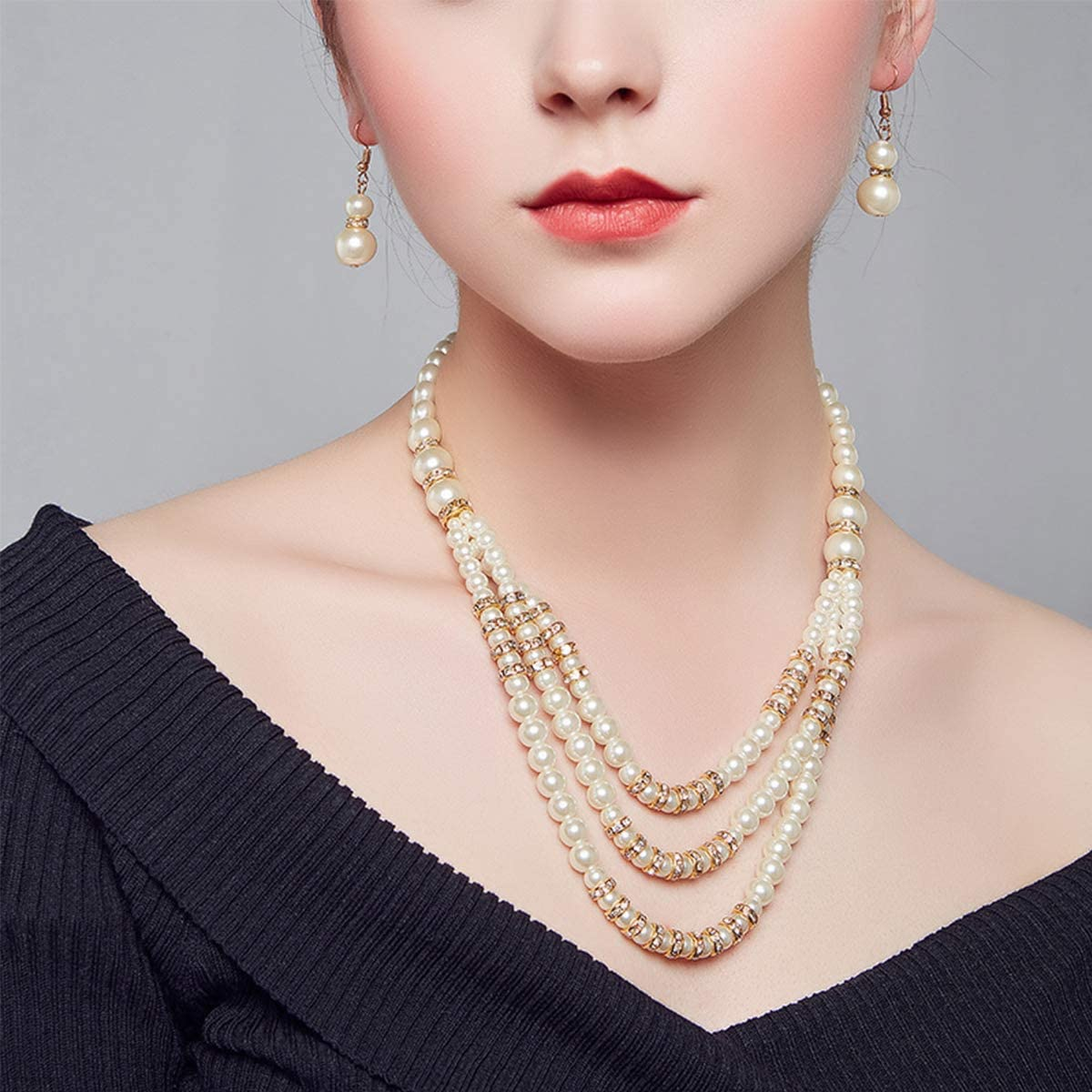 Mecool Faux Perlenschmuck Sets Halskette Ohrring Schmuck Set Multi Layer Faux Perle Strang Kost/üm Schmuck Set