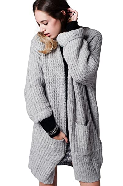estilo popular 100% Calidad comprar nuevo Q2 Mujer Cardigan gris largo de punto con bolsillos - S ...