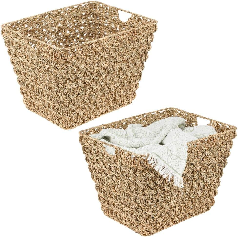 mDesign Rectangle Woven Braided Rope Seagrass Home Storage Baskets, with Handles - for Laundry, Closet, Bedroom, Bathroom, Living Room, Entryway, Office - Set of 2 - Natural