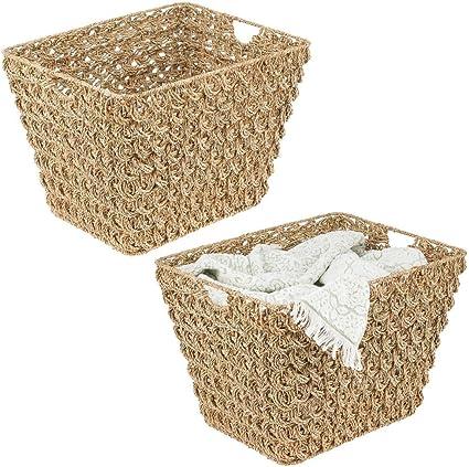 Canasta de junco marino y alambre de metal natural 40,6 x 30,5 x 15,2 cm mDesign Juego de 3 cestos organizadores para cocina o despensa Cesta trenzada con asas para guardar alimentos