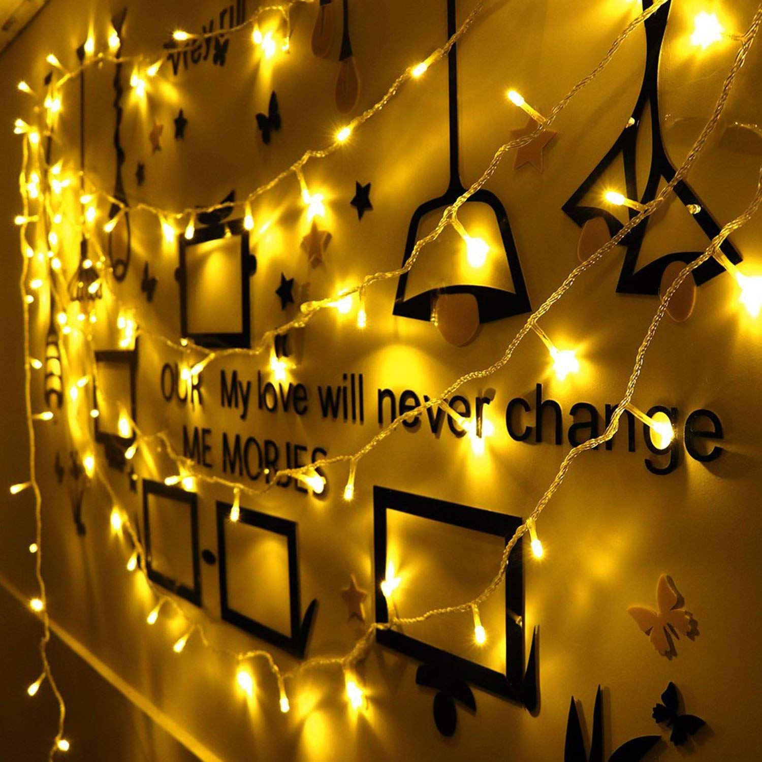 LED Fairy Lights 200 LED String Lights 66ft IP44 Waterproof Warm White Light, DC 31V Low Voltage Transformer Suitable for Indoor, Outdoor, Party, Garden, Christmas
