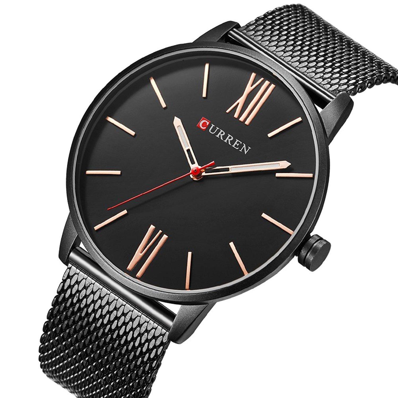 TREEWETO Men's Slim Mesh Wrist Watch Roman Numerals Black Band Bisiness Dress Watch