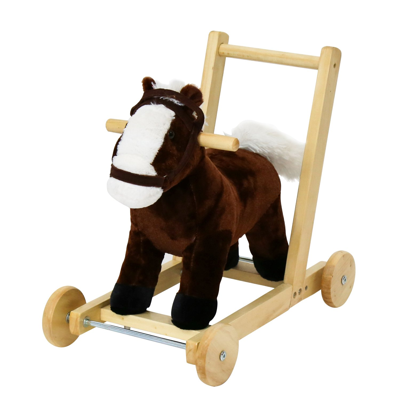 Kinbor Kids Girls Boys Pony Ride on Horse Theme Style Rocking Toy Child Walking Trolley Sound w/Wheels