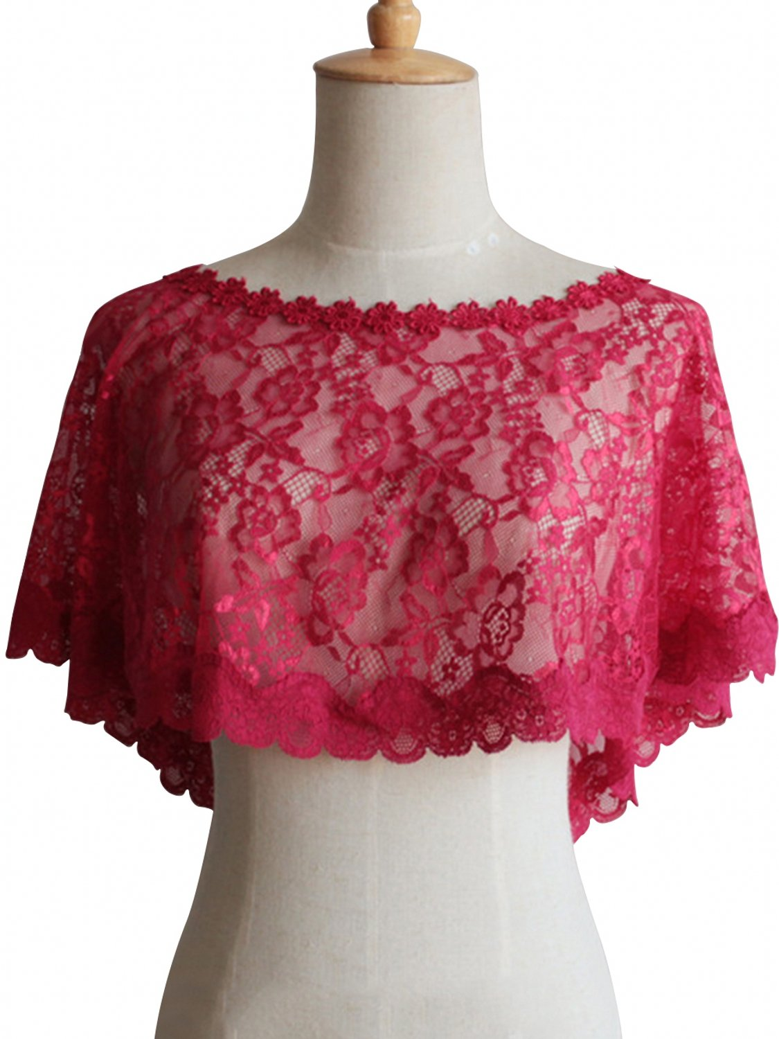 Women Lace Tulle Shawl Wrap 1920s Shawl Cover Up Evening Cape for Bride,Burgundy