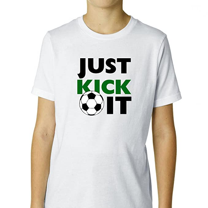 Just Kick It – Balón de fútbol – Cool Boy s algodón juventud camiseta