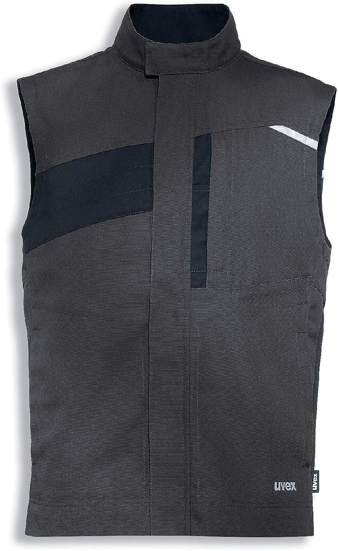 Vielf/ältige Taschen 6XL Dunkelgraue M/änner-Weste Uvex Perfexxion Premium Herren-Arbeitsweste