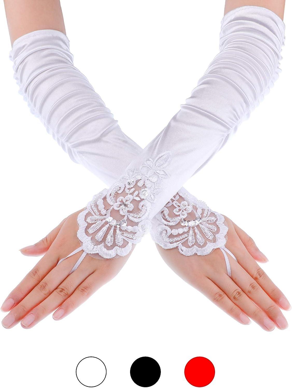 3 Paar Fingerlose Handschuhe Spitze Pailletten 1920 Jahren Oper Satin Handschuhe Erwachsene Gr/ö/ße Ellenbogen L/änge Handschuhe 15 Zoll