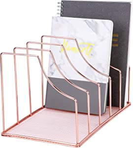 Simmer Stone File Sorter Organizer, 5 Section Magazine Holder Rack, Desktop Wire Book Stand for Mail, Paper, Document, Folder, Record and Desk Accessories, Rose Gold