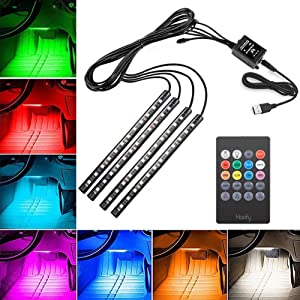 Car LED Strip Light, Haofy 4x12 LED Car Interior Lights, Multicolor Music Atmosphere Strip Light LED Under Dash Lighting Kit with Sound Active Function Wireless Remote Control USB Port 8 Colors