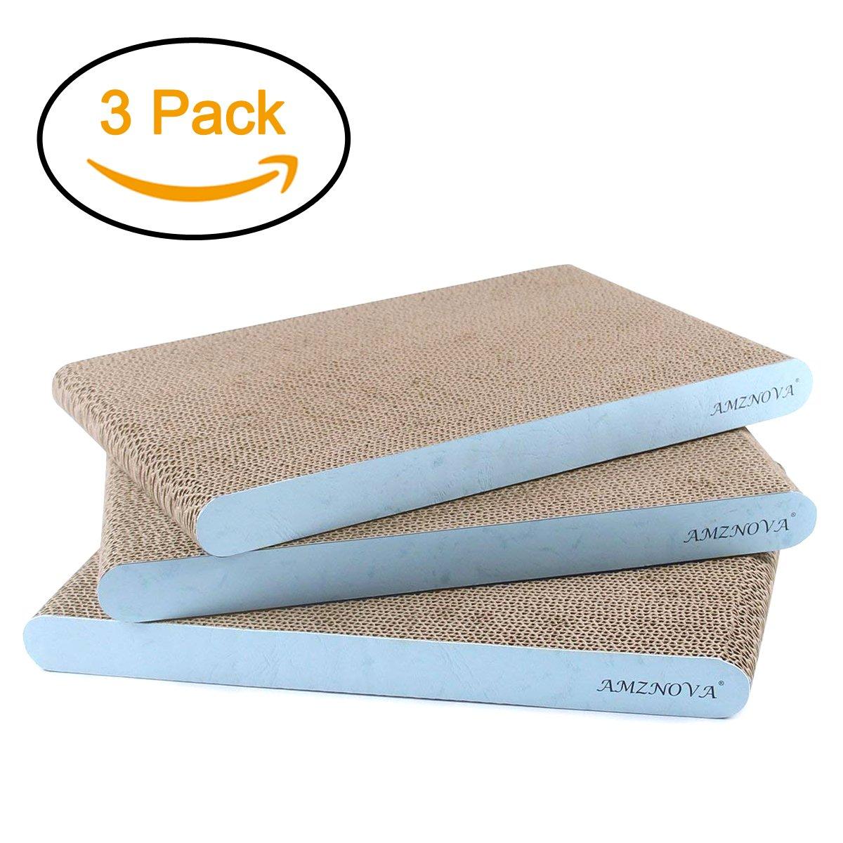 AMZNOVA Cat Scratcher Cardboard Scratching Pads Scratch Lounge Sofa Bed, Wide, Baby Blue, 3 Pack