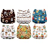 Mama Koala One Size Baby Washable Reusable Pocket Cloth Diapers, 6 Pack with 6 One Size Microfiber Inserts (Coffee Heaven) (Color: Coffee Heaven, Tamaño: One Size)