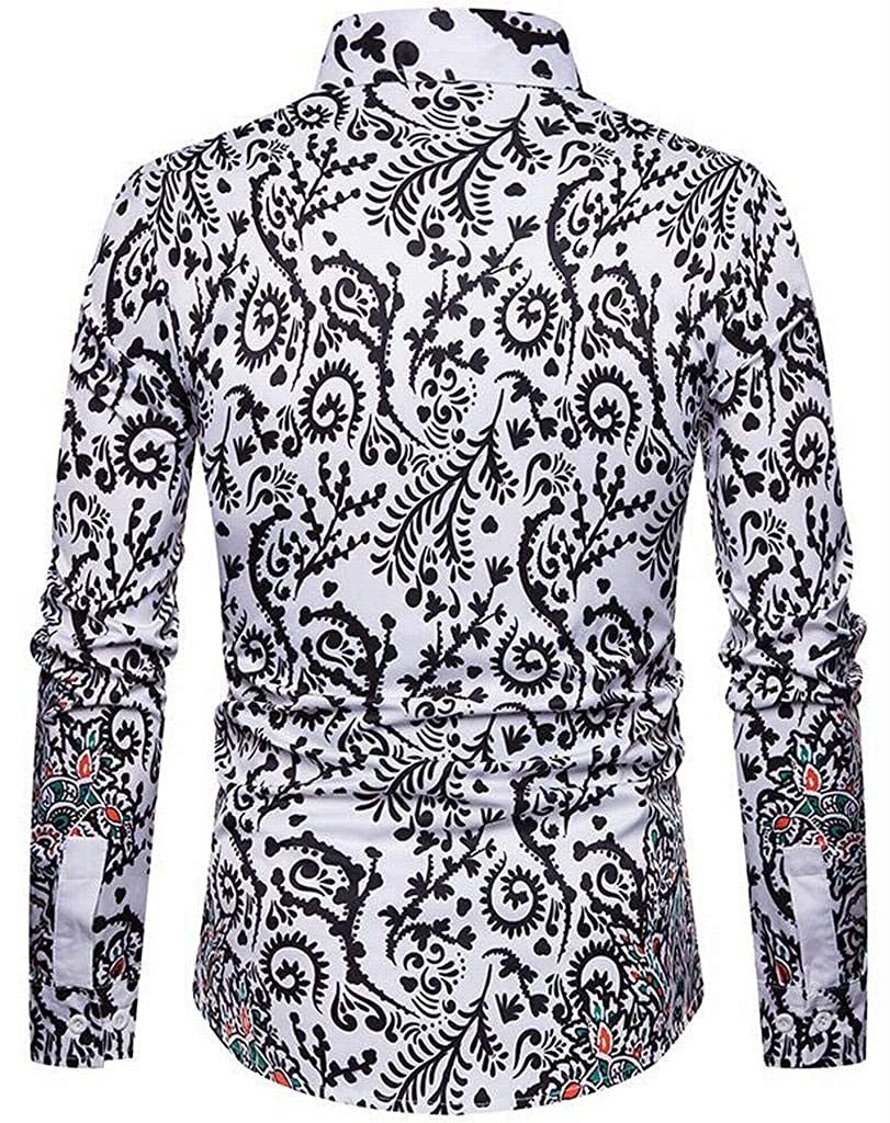 XiaoTianXinMen XTX Mens Floral Long Sleeve Slim Fit Casual Lapel Button Down Blouse Shirt