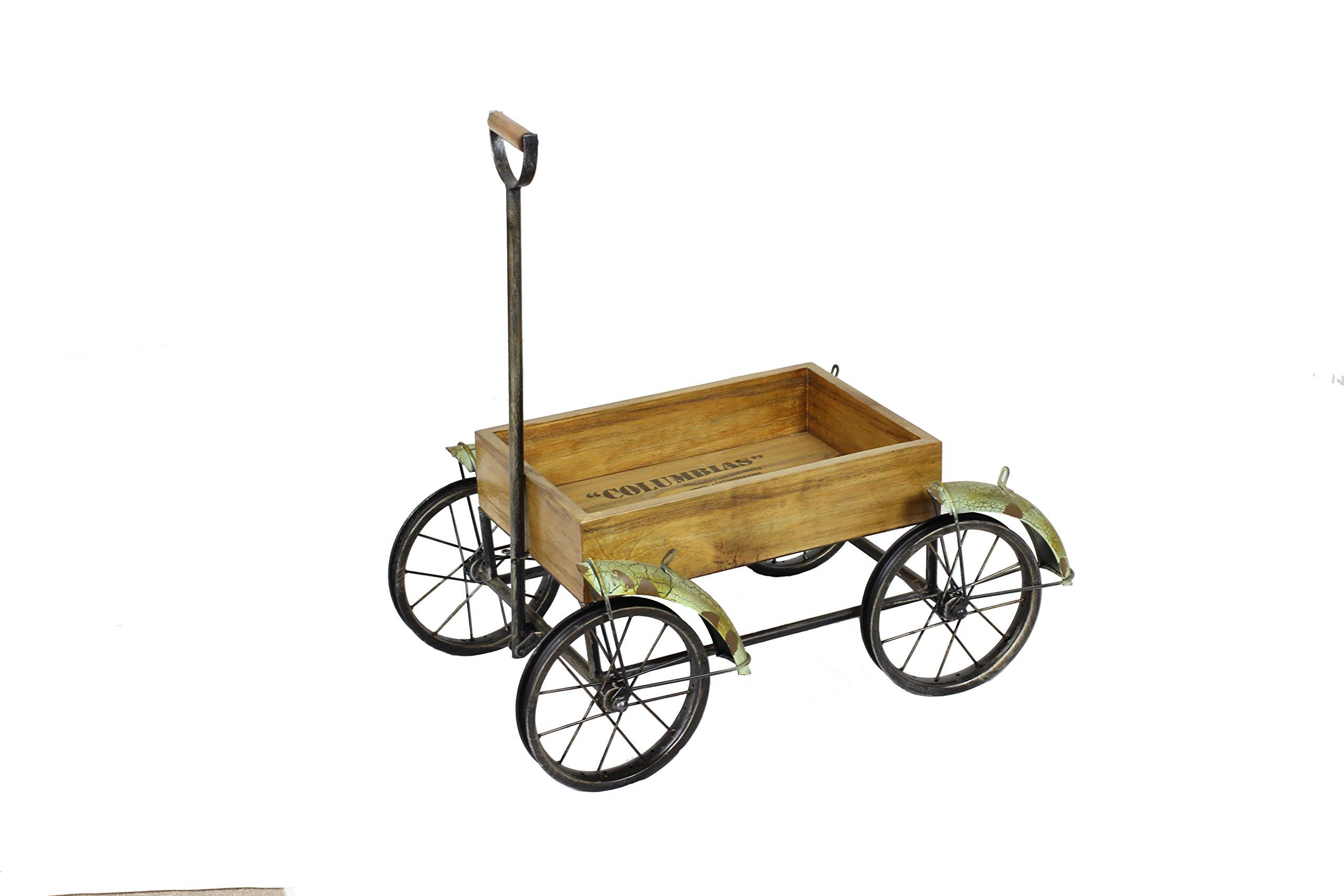 BW6842 Green Wagon with Wood Movable Picnic Basket Cart, Wedding Decor, Garden Basket Decor