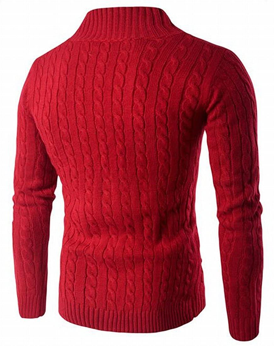 Honey GD Mens Casual Pure Color Fashion Pullover Cable-Knit Sweater
