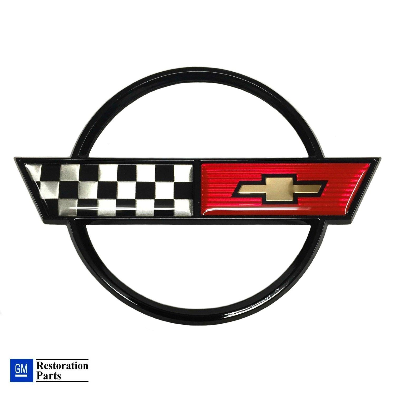 Gas Fuel Lid Emblem Cross Flag Official GM Restoration Parts Includes Both Front and Rear Emblems Fits 84 through 90 Corvettes 14060259-14060260 C4 Corvette Front Nose Emblem