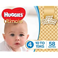 Huggies Ultimate Nappies, Boys, Size 4 Toddler (10-15kg), 58 Count