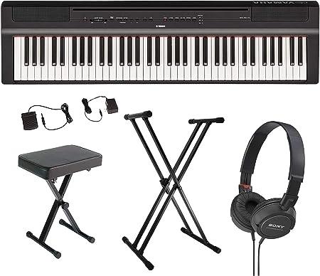 Yamaha P121B Piano digital portátil de 73 teclas con pedal sostenido, fuente de alimentación, soporte de teclado tipo X, banco de piano acolchado de ...