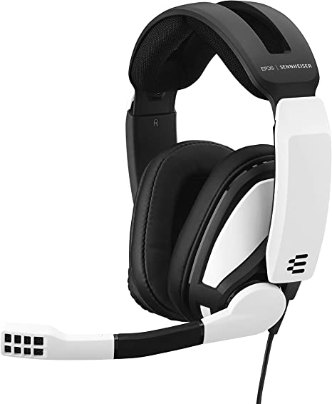 Amazon Com Epos Sennheiser Gsp 301 Gaming Headset With Noise Cancelling Mic Flip To Mute Comfortable Memory Foam Ear Pads Headphones For Pc Mac Xbox One Ps4 Nintendo Switch And Smartphone Compatible Black And White Computers