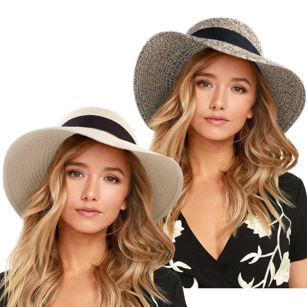 FURTALK Womens Beach Sun Straw Hat UPF50 Travel Foldable Summer Hat (Medium Size (21.8''-22.4''), Beige/Mix Khaki) by FURTALK