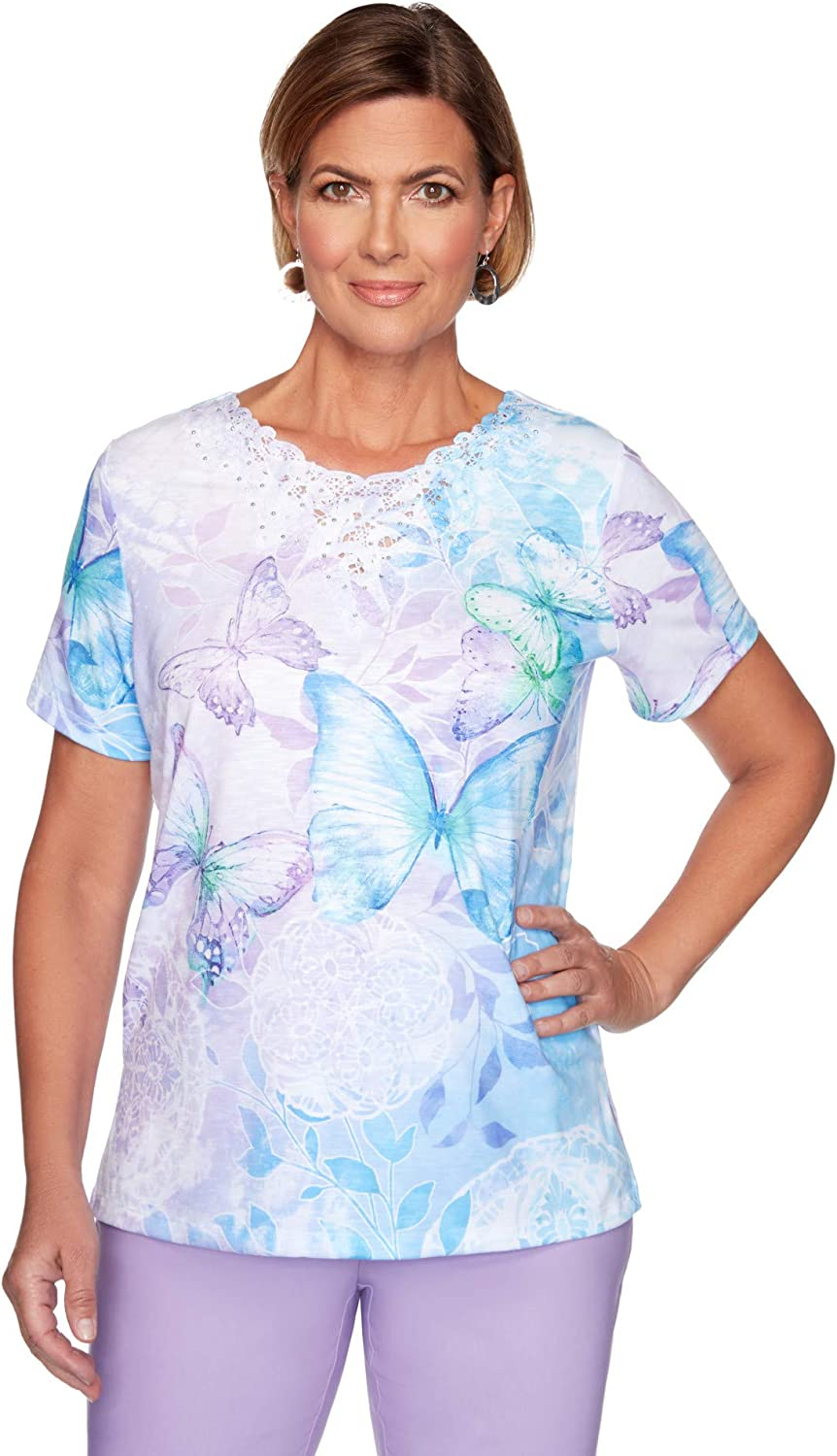 Alfred Dunner Women's Butterfly Medallion Print Lace Top