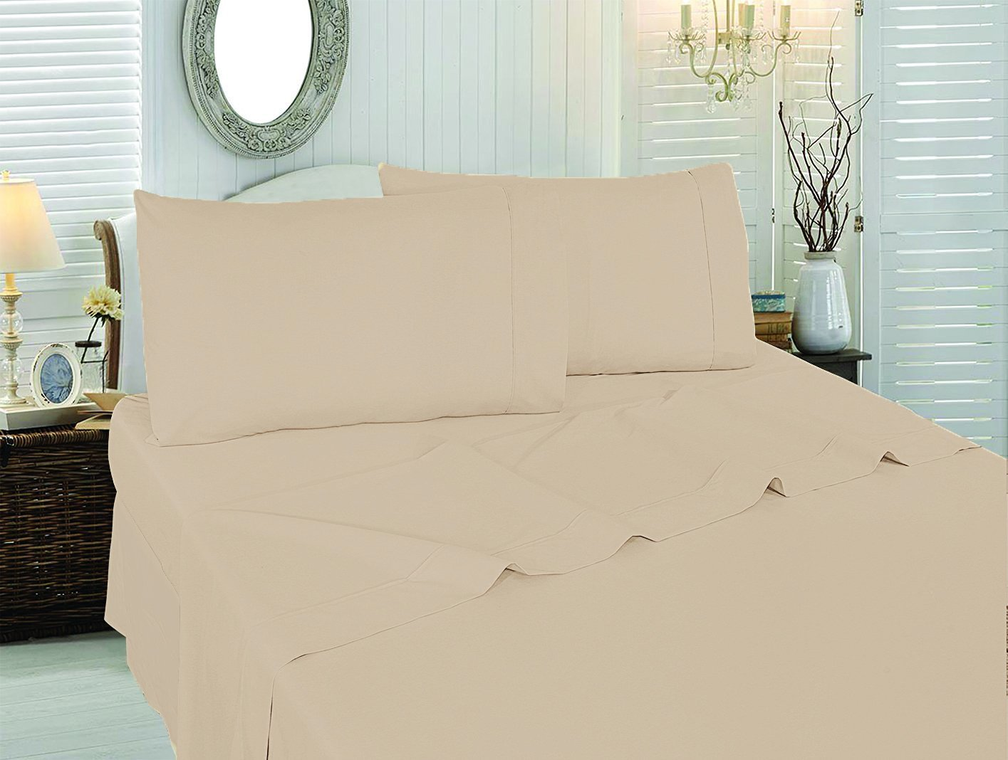 Utopia Bedding Soft Brushed Microfiber Wrinkle Fade and Stain Resistant 4-Piece Queen Bed Sheet Set - Beige