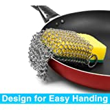 Cast Iron Cleaner, Hawaoo Stainless Steel Cast Iron Double Chainmail Scrubber Perfect for Cookware Black Hardened, Pasta, Residue, More Easy to Grip