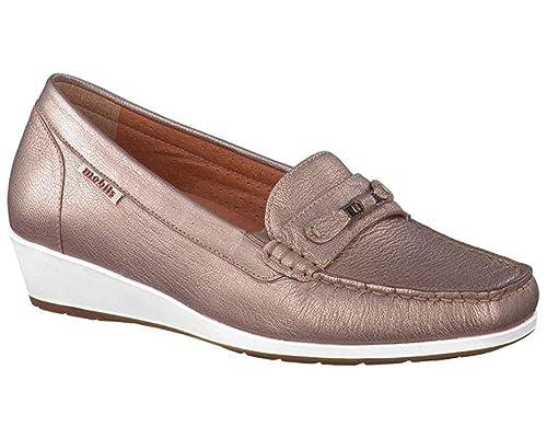 MOBILS - Mocasines de Piel Lisa Mujer, Dorado (9925), 6.5 UK: Amazon.es: Zapatos y complementos