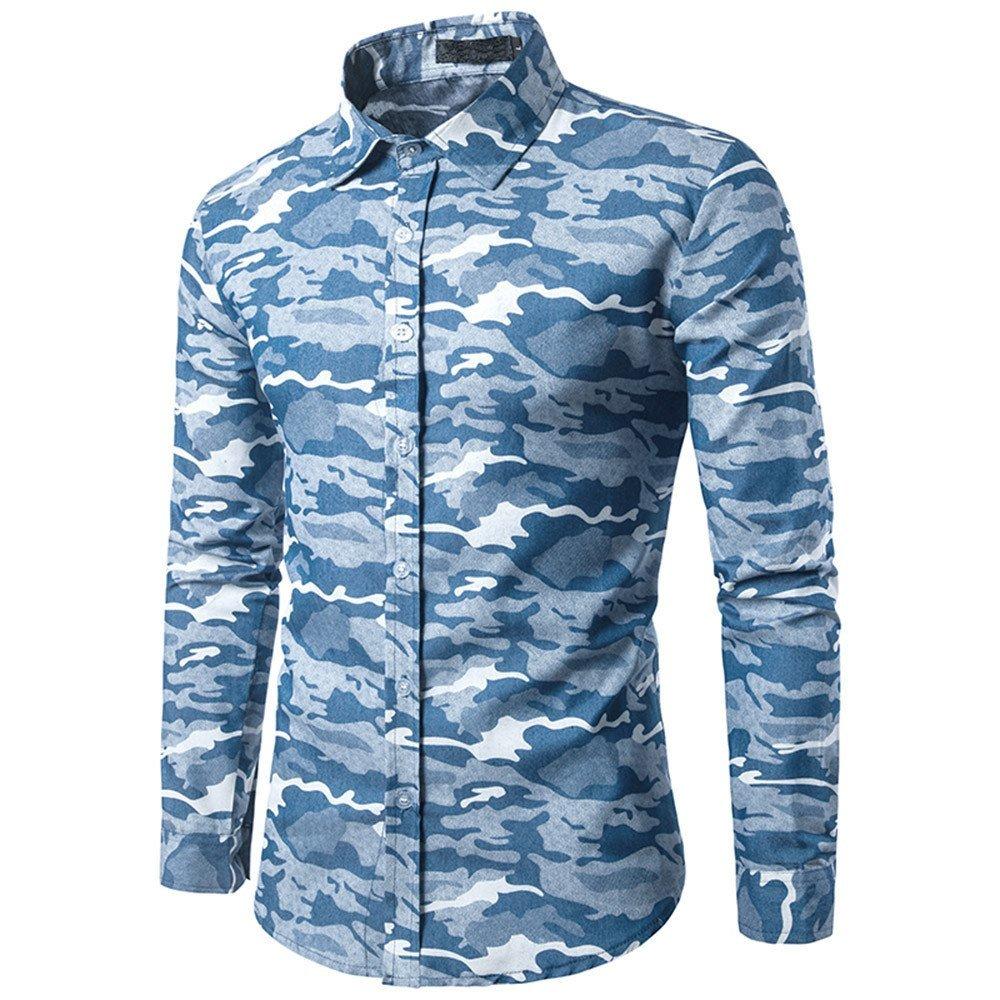 Shirts For Men, HOT SALE !! Farjing Men's Autumn Casual Camouflage Military Slim Fit Long Sleeve Shirt Top Blouse(XL,Light Blue)