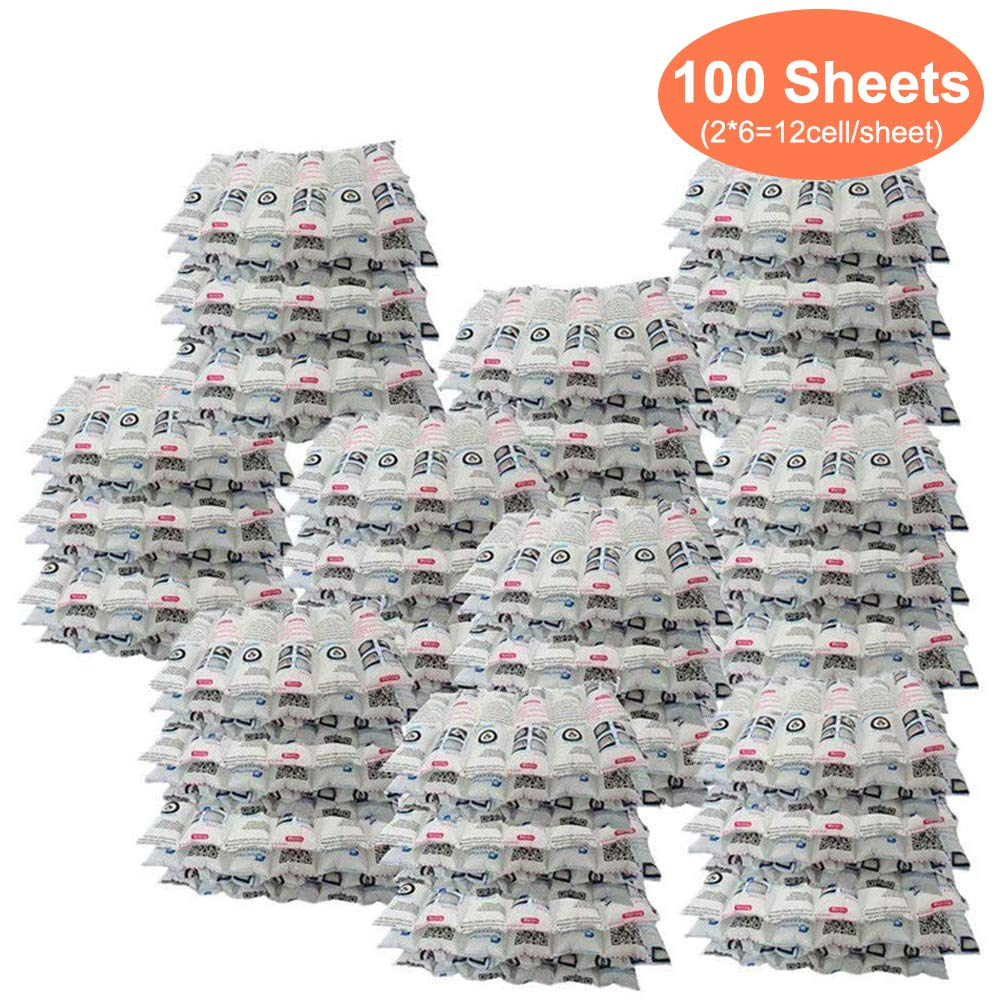 100 Pcs Ice Pack Sheets Leakproof Gel Refrigerant Pack, 21 oz / Sheet after Absorb Water Cooling for Keep Food Fresh and Beverage Cold, Reusable and Flexible, 13.3''x 6.5'' / Sheet (2x6 cells/sheet) by WORLD-BIO