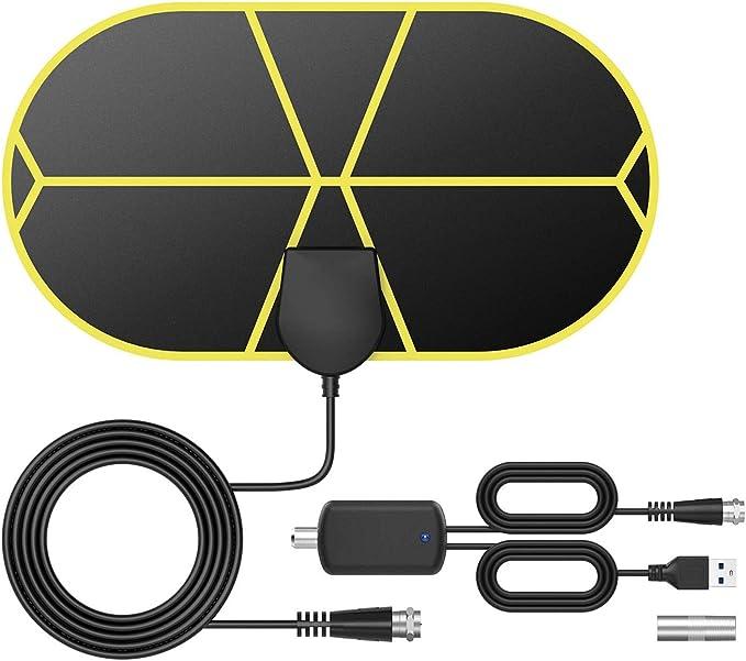 GeekerChip Antena TV Interior,Antena TV TNT Portátil con 3.7 M Cable,Soporte 4K 1080p para 4K 1080 HD/VHF/UHF,Apto para Sección los Tipos de ...