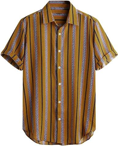 CAOQAO Camisas Hombre Manga Corta Hawaiana Camisa 2019 Rayas de Manga Corta de Verano Botones Sueltos Camisa Informal Blusa Caqui: Amazon.es: Ropa y accesorios