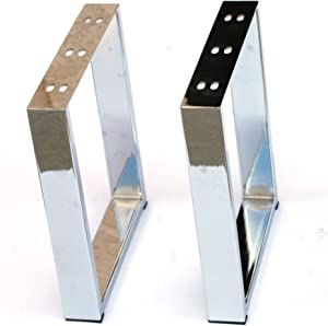 "Coffee Table Legs Metal Legs X-Shape U-Shape Furniture Legs 16"" Stainless Steel Chrome Black 2pc Set by Alpha Furnishings (Chrome U)"