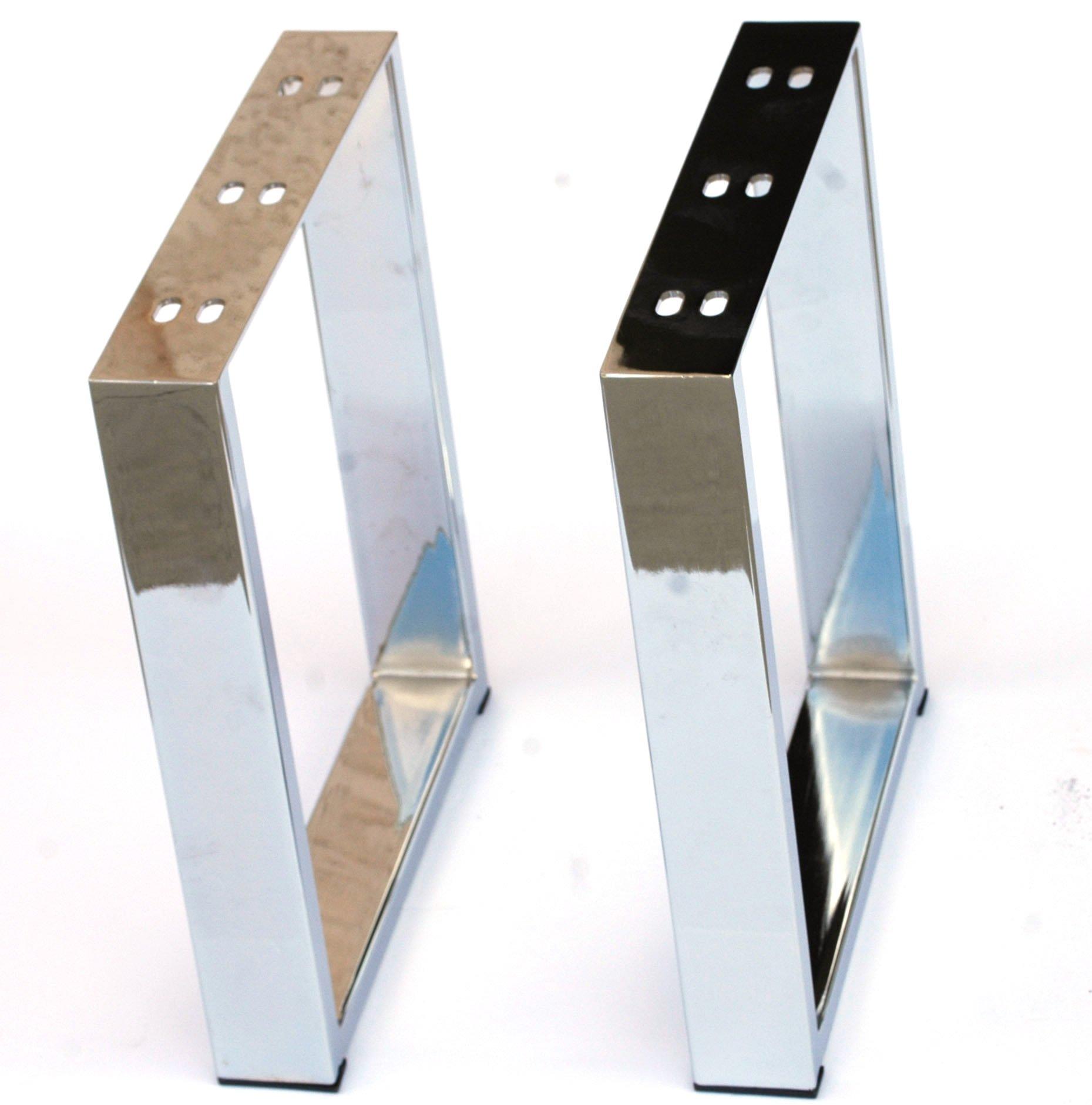 Alpha Furnishings Heavy Duty Chrome Table Leg, X Metal Legs for Coffee Table, Bench, DIY Affordable! 2PC
